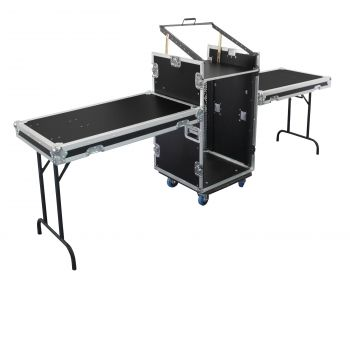 Flight case 12U DS + 3U + 2 tablettes