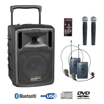 Sono portable CD MP3+USB+DIVX+2 micros main+body pack+bluetooth