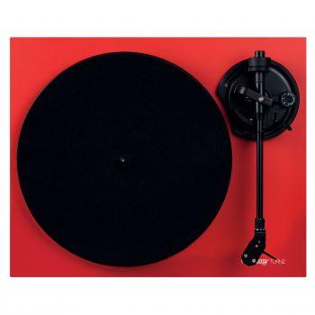 Platine vinyle Hifi rouge avec bras de lecture droit