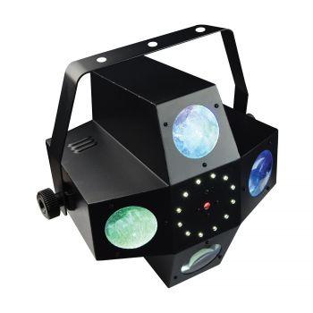 Jeux de lumière 3-en-1 : Strobe, Beam Moonflower, Laser multipoints