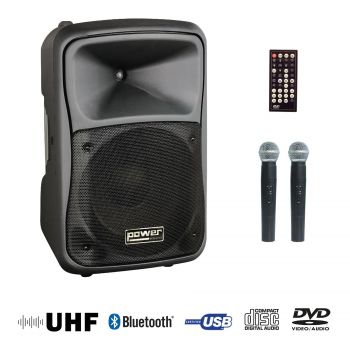 Sono portable CD MP3+USB+DIVX+2 micros main UHF+Bluetooth