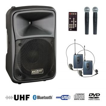 Sono portable cd mp3 + USB + divx +2 micros main UHF + body pack + bluetooth