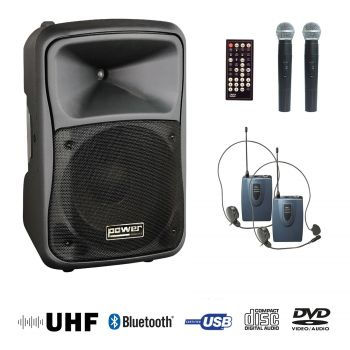 Sono portable CD mp3 + USB +DivX + 2 micros main UHF + body pack + bluetooth
