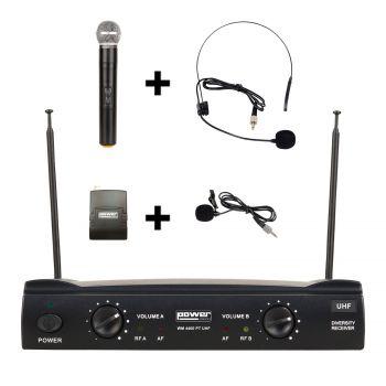 Simple micro main UHF + micro serre-tête + micro-cravate + émetteur de poche PT UHF – Freq 824-827.5 MHZ
