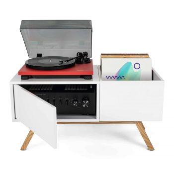 Meuble blanc rétro pour 130 vinyles