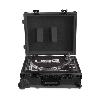 Flight-case black MK2 avec trolley pour platine vinyle