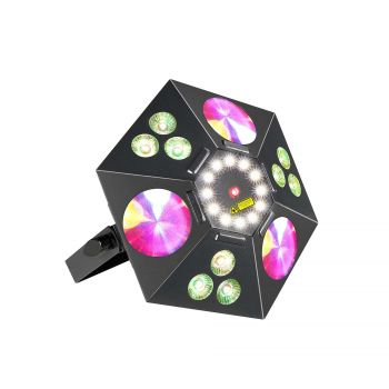 Jeux de lumiere 4-en-1 : Wash, Flower, Strobe, Laser 2-in-1