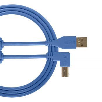 cable udg usb 2.0 a-b bleu coudé 1m