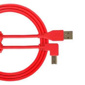 cable udg usb 2.0 a-b rouge coudé 2m