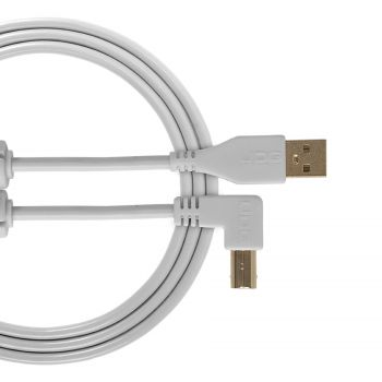 cable udg usb 2.0 a-b blanc coudé 2m