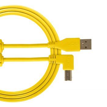 cable udg usb 2.0 a-b jaune coudé 2m