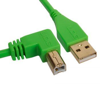 cable udg usb 2.0 a-b vert coudé 3m