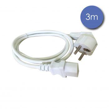 Câble Alim Mâle/IEC Femelle 3m blanc
