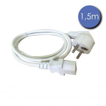 Câble Alim Mâle/IEC Femelle 1.5m blanc