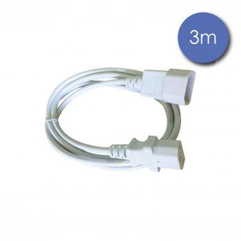 Câble IEC Mâle/IEC Femelle 3m blanc