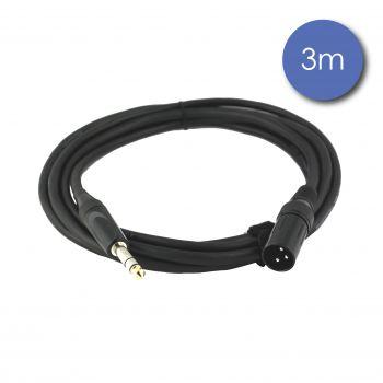 Câble 3m - JACK STEREO Mâle - XLR 3 PIN Mâle