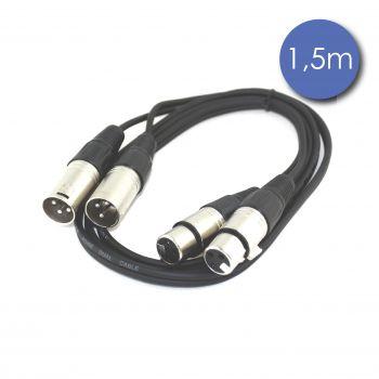 Câble 1,5m - XLR 3 PIN Mâle - XLR 3 PIN Femelle